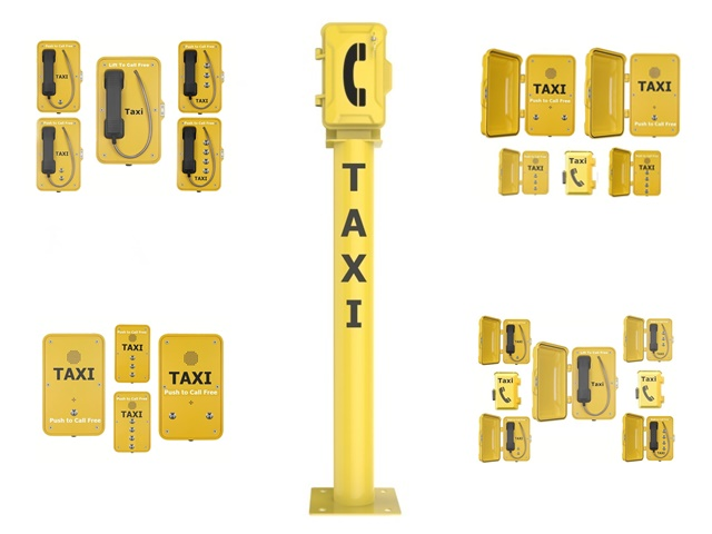 taxi free phones call post for public taxi booking service. Vandal proof water resistant IP66 water tight and waterproof taxi telephones from taxitel
