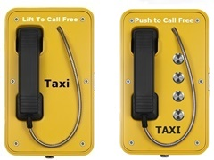 taxi booking telephones with handset and push to call freephone buttons, vandal resistand tamperproof and water tight from taxitel